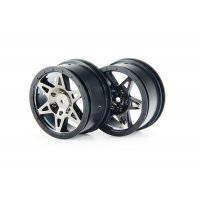 "ARRMA 2.0/2.2"" RAIDER Front Chrome Black Rims 2Pcs"