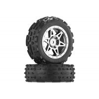 "ARRMA 2.0/2.2"" RAIDER Front dBoots SAND SCORPION DB Tyres on Black Chrome Rims - Glued Wheels 2Pcs"