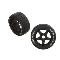 "ARRMA 3.3"" Belted 42/100 2.9 Hoons dBoots Tyres on Black Rims - Glued Wheels 2Pcs"