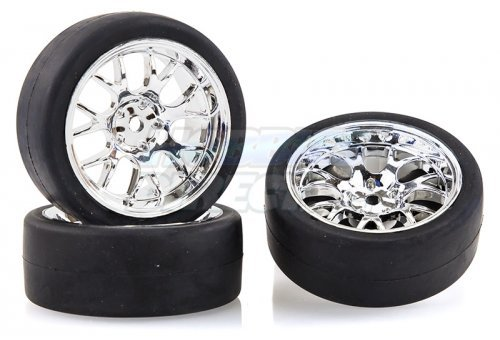 "2510012 | Absima 1.9"" Slick Tyres on Claw Chrome Rims - Glued Wheels 4Pcs"
