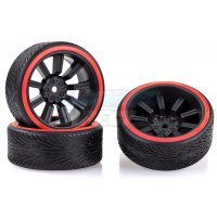 "Absima 1.9"" B-Profile Drift Tyres on 9 Spoke Black Rims 4Pcs"