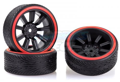 "2510048 | Absima 1.9"" B-Profile Drift Tyres on 9 Spoke Black Rims 4Pcs"