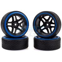 "Absima 1.9"" A-Profile Drift Tyres on Split 5 Black Rims 4Pcs"