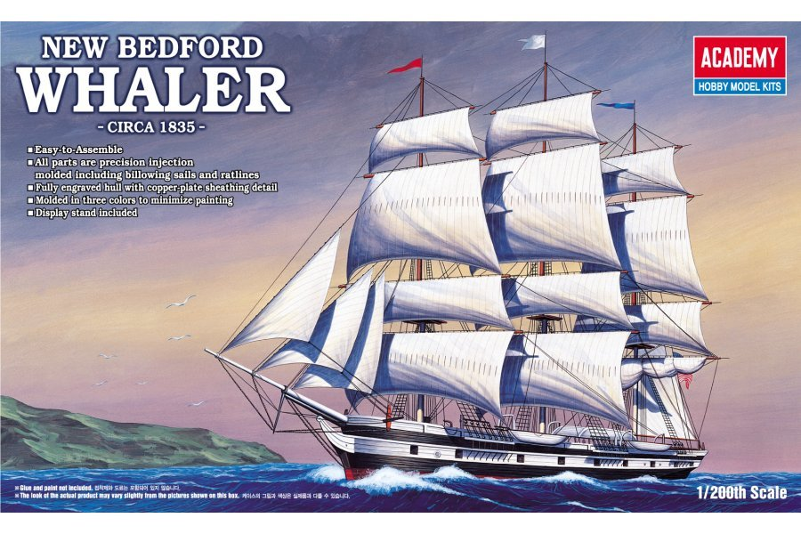 Academy 1/200 1835 New Bedford Whaler Ship Scaled Plastic Model Kit w/ Display Stand
