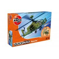 Airfix Quickbuild Apache Helicopter Scaled Plastic Model Kit - Green