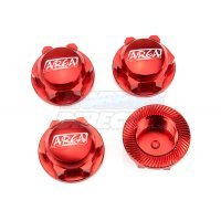 Area RC 18mm (24mm Hex) Red Aluminium DBXL Wheel Nuts 4Pcs