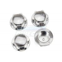 Area RC 18mm (24mm Hex) Silver Aluminium 5IVE-T Wheel Nuts 4Pcs