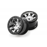 "Axial 2.2"" Raceline Renegade Chrome Rims 2Pcs"