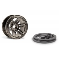 "Axial 2.2"" Rockster Black Chrome Rims 2Pcs"