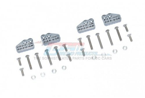 GPM Grey Silver Aluminium Axial Capra Front & Rear Adjustable Shock Towers 4Pcs w/ Hardware