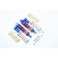 GPM Blue Aluminium Traxxas Rustler 4x4 Front Piggyback Shocks 2Pcs w/ Optional Spring Rates