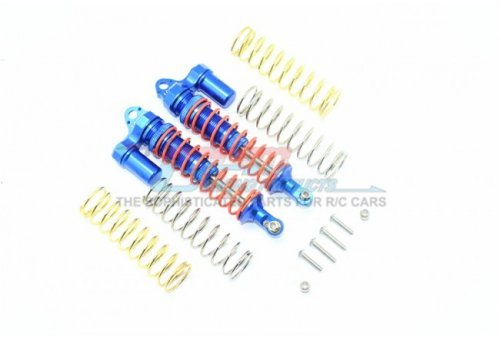 GPM Blue Aluminium Traxxas Rustler 4x4 Rear Piggyback Shocks 2Pcs w/ Optional Spring Rates