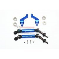 GPM Blue Aluminium Traxxas Slash 4x4 Rear Hubs & Universal Drive Shafts w/ Oversized 6x13x5 Bearings