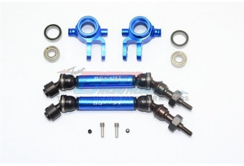 GPM Blue Aluminium Traxxas Slash 4x4 Front Steering Hubs & Universal Drive Shafts w/ Oversized 6x13x5 Bearings