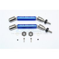 GPM Blue Stainless Steel Traxxas Slash/Stampede 4x4 Front Universal Drive Shafts 2Pcs w/ 12mm Hexs