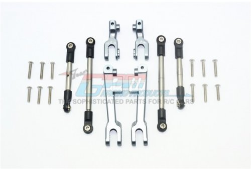 GPM UDR Silver Aluminium Front & Rear Left & Right Complete Sway Bar Arms w/ Stainless Steel Turnbuckles