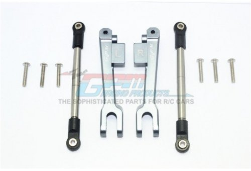 GPM UDR Silver Aluminium Rear Left & Right Sway Bar Arms w/ Stainless Steel Turnbuckles