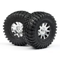 "HPI 2.2/3.0"" Blitz Maxxis D Compound Tyres on MK.10 Matte Chrome Rims - Glued Wheels 2Pcs"