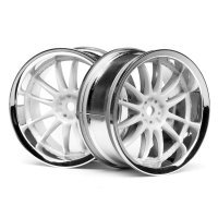"HPI 1.9"" (3mm Off-Set) Work XSA 02C Chrome/White Rims 2Pcs"