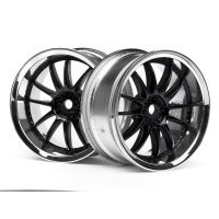 "HPI 1.9"" (3mm Off-Set) Work XSA 02C Chrome/Black Rims 2Pcs"