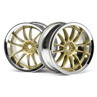 "HPI 1.9"" (3mm Off-Set) RS4 Sport 3 Work XSA 02C Chrome/Gold Rims 2Pcs"