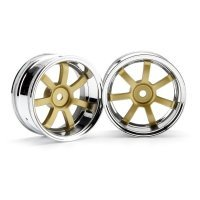 "HPI 1.9"" (6mm Off-Set) Rays Gram Lights 57S-Pro Chrome/Gold Rims 2Pcs"