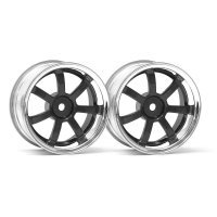 "HPI 1.9"" (6mm Off-Set) Rays Gram Lights 57S-Pro Chrome/Gun Metal Rims 2Pcs"