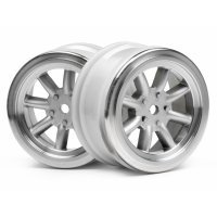 "HPI 1.9"" (0mm Off-Set) Vintage 8 Spoke Matte Chrome Rims 2Pcs"