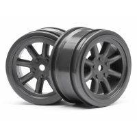"HPI 1.9"" (0mm Off-Set) Vintage 8 Spoke Gun Metal Rims 2Pcs"