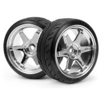 "HPI 1.9"" A Type Super Drift Tyre on Chrome TE37 Rims - Wheels 2Pcs"