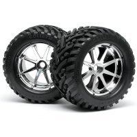 "HPI 4.2"" Savage Goliath Tyres on Chrome Blast Rims - Glued Wheels 2Pcs"
