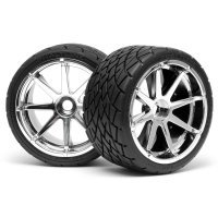 "HPI 4.2"" Savage Phaltline Tyres on Chrome Blast Rims - Glued Wheels 2Pcs"