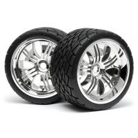 "HPI 4.2"" Savage Phaltline Tyres on Chrome Tremor Rims - Glued Wheels 2Pcs"
