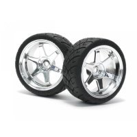 "HPI 1.9"" RS4 Sport 3 X-Pattern Tyres on TE37 Chrome Rims - Glued Wheels 2Pcs"