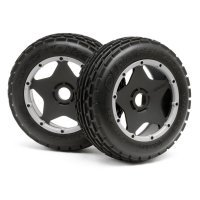 "HPI 4.7/5.5"" Baja 5B Front Dirt Buster Rib Tyres on Black/Grey Super Star Rims - Beadlocked Wheels 2pcs"