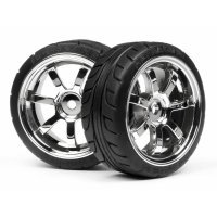 "HPI 1.9"" RS4 Sport 3 T-Grip Tyres on Rays 57S-Pro Chrome Rims - Glued Wheels 2Pcs"