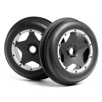 "HPI 4.7/5.5"" Baja 5B Front Sand Buster Rib Tyres on Black/Grey Super Star Rims - Beadlocked Wheels 2pcs"