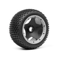 "HPI 4.7/5.5"" Baja 5B Rear Dirt Buster Block Tyres on Black/Grey Super Star Rims - Beadlocked Wheels 2pcs"
