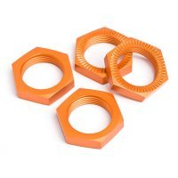 HPI 5B/5SC/5T 18mm (24mm Hex) Orange Aluminium Serrated Wheel Nuts 4Pcs