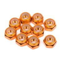 HPI 4mm Orange Aluminium Nyloc Nuts 10Pcs