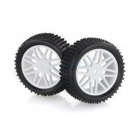 "HSP 2.3"" Front Buggy Tyres on White Rims - Wheels 2Pcs"