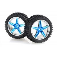 "HSP 2.3"" Rear Buggy Tyres on Blue Chrome Rims - Wheels 2Pcs"