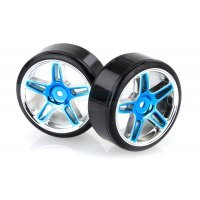 "HSP 1.9"" Drift Tyres on Blue Chrome Rims - Wheels 2Pcs"