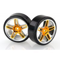 "HSP 1.9"" Drift Tyres on Orange Chrome Rims - Wheels 2Pcs"