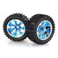 "HSP 2.8"" Off-Road Tyres on Blue Chrome Rims - Wheels 2Pcs"