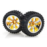 "HSP 2.8"" Off-Road Tyres on Orange Chrome Rims - Wheels 2Pcs"