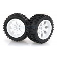 "HSP 2.8"" Off-Road Tyres on White Rims - Wheels 2Pcs"