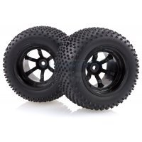 "HSP 2.3"" Viper Rear Knobby Tyres on Black 6 Spoke Rims - Wheels 2Pcs"