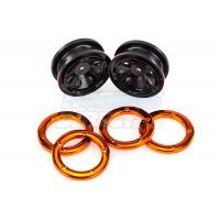 "HSP 1.9"" Kulak Black/Orange Beadlock Rims 2Pcs"