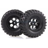 "HSP 1.9"" RC4 Soft Off-Road Tyres on Black Rims - Wheels 2Pcs"